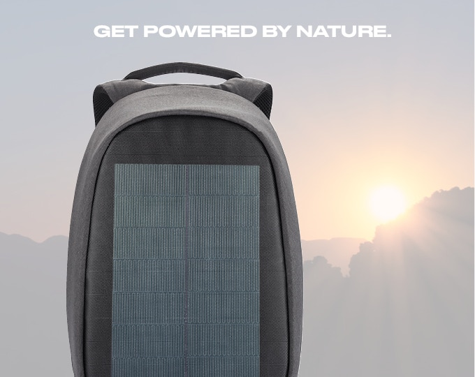 Charge your phone or tablet with the integrated Solar Panel on the front of the backpack! You can directly use the solar energy or store it in your powerbank. The powerbank can easily be connected with USB and Type-C cables (these are included). Technical capacity Solar cell: 8.5W 2A 5V. It will take about 3.5 hours to fully charge your phone on a sunny day.