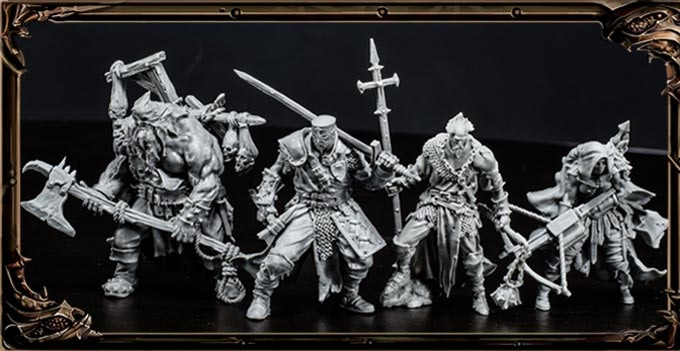 Resin miniatures of the four heroes.