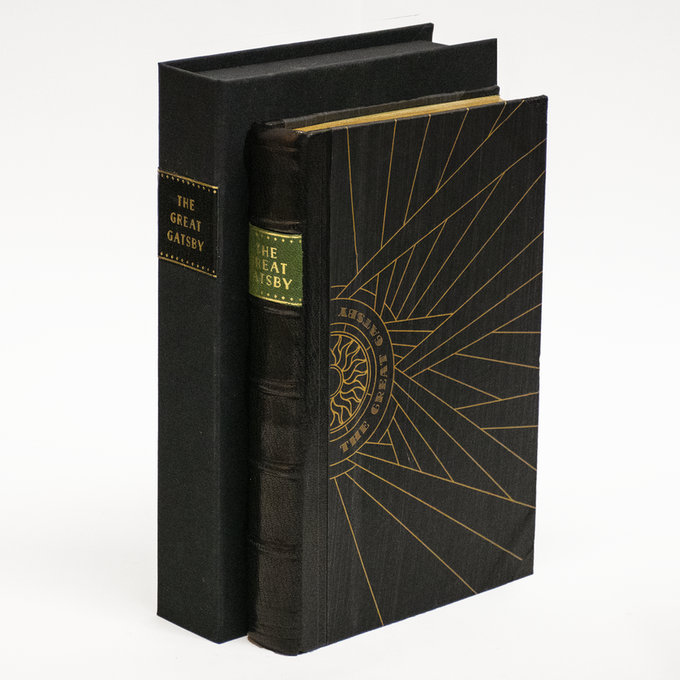 The Half-Leather copies are bound in black Morocco and engraved paste paper boards.  They are presented in a clamshell box.