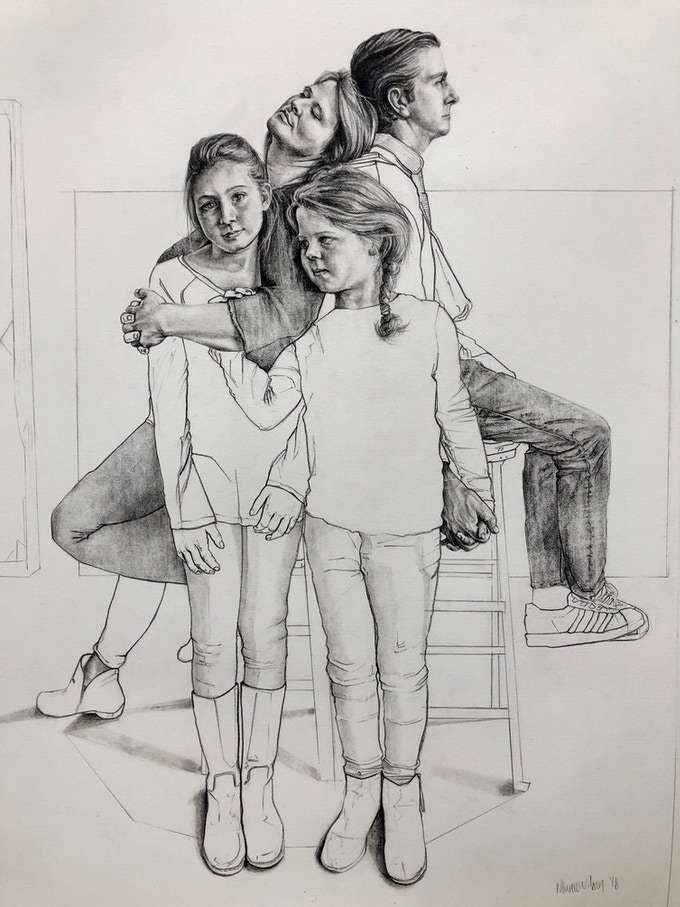 Example of completed family portrait commission