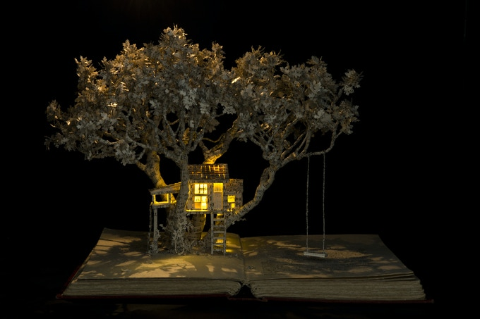 Example of a book sculpture, with lights.