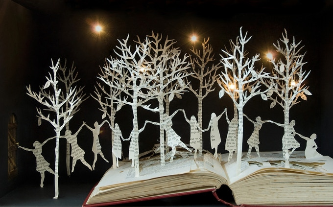 Example of book sculpture, with lights