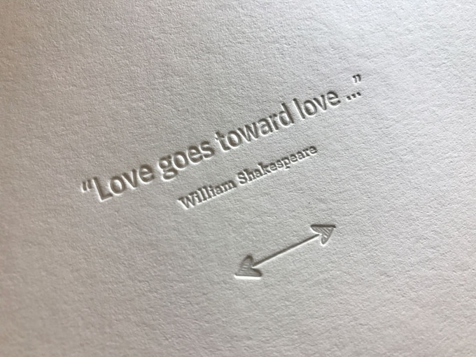 Letterpress printing creates a deep impression when printed on soft cotton paper.