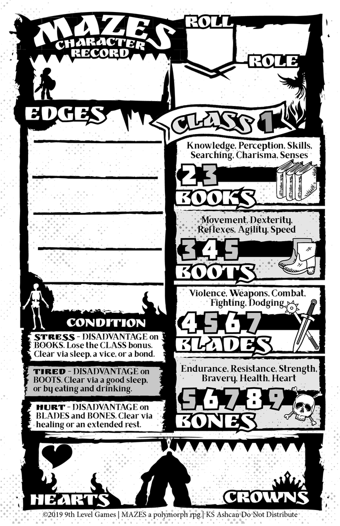 MAZES basic Character Sheet