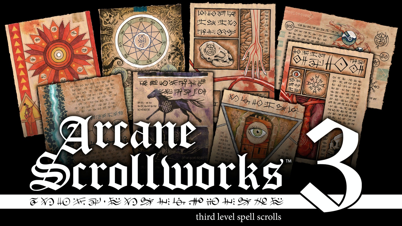 Hand-finished prop scrolls suitable for framing or use in tabletop RPGs and LARPs with designs inspired by popular fantasy RPGs.