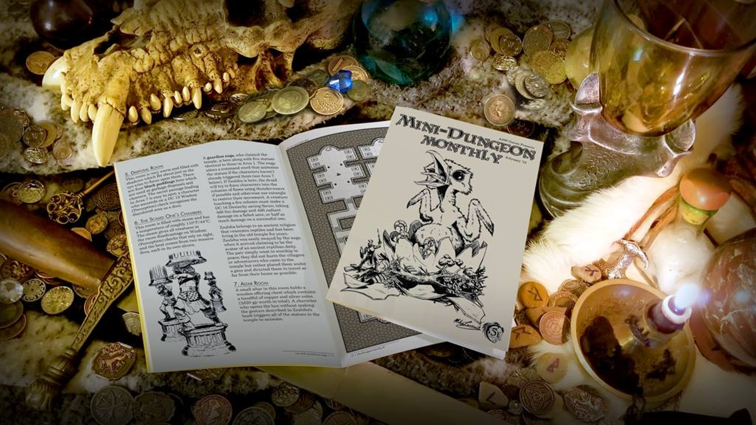 The new monthly RPG zine from AAW Games. Each issue features five brand-new Mini-Dungeon adventures for D&D 5th Edition #zinequest