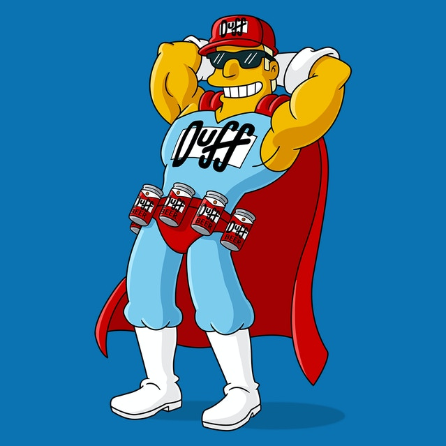 Duffman, the obvious spirit animal of the Duffel and Duffelpack. If anybody knows Matt Groening personally, please let him know we're interested in a collab.