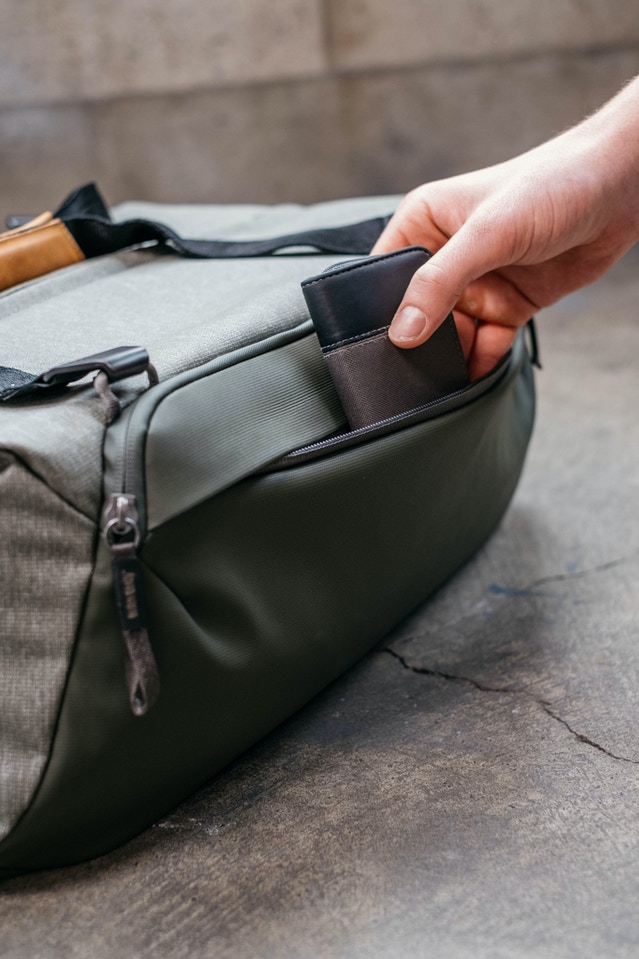 The secondary straight pocket gives you additional external storage space for slimmer items. The zipper path sits beneath a horizontal flap of fabric, making it aesthetically clean, out of sight, and protected from moisture. The trapezoidal pocket zipper is weatherproof.