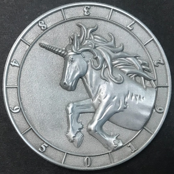 d10 one digit Unicorn - antique silver plated