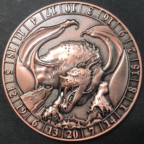 d20 Copper Dragon - antique copper plated
