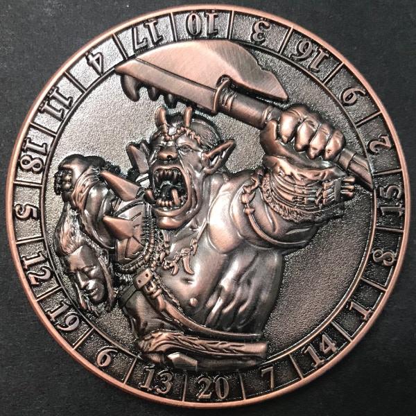 d20 Ogre - antique copper plated