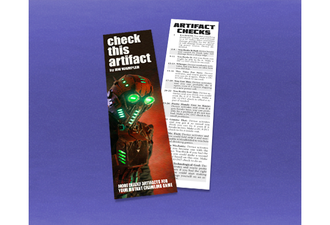 Check This Artifact bookmark with artifact check table.
