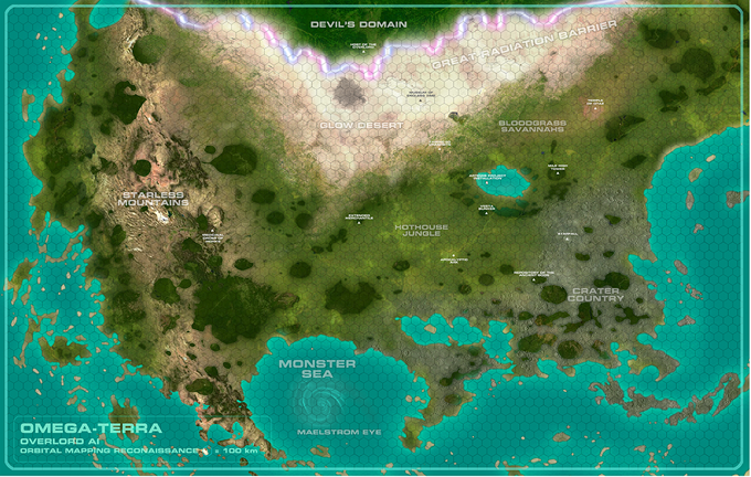 "11"" x 17"" full-color Omega-Terra campaign map, fully annotated."