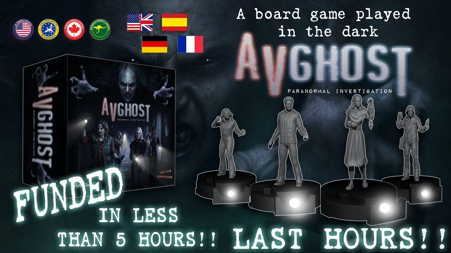 Horror investigation experience. A board game played in the dark.