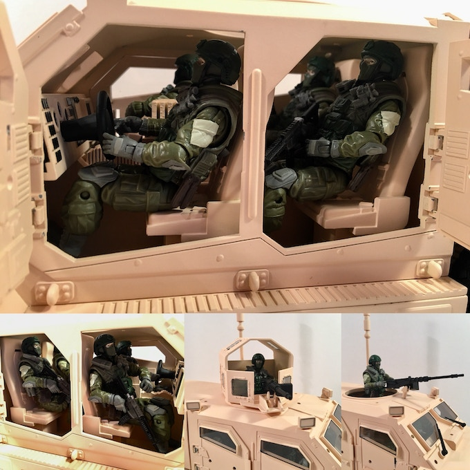 Room for multiple action figures! (action figures shown for demonstration purposes only; they are NOT produced by Wayward Goat Collectibles and are NOT part of this Kickstarter Campaign)