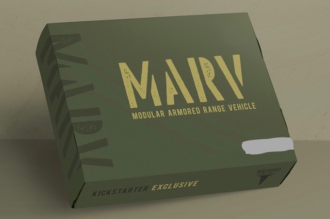 Early MARV packaging concept; final box design TBD.