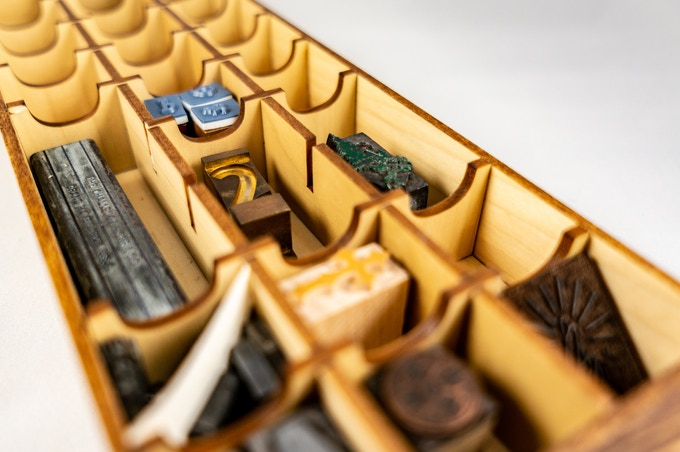 A prototype of the Tiny Type Museum & Time Capsule's main drawer