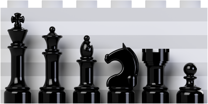 Relative Height of Chess Pieces against a 7-plate tall background