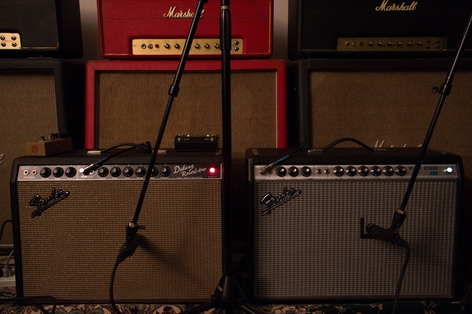 Tracking guitars in our home studio in Columbus, OH