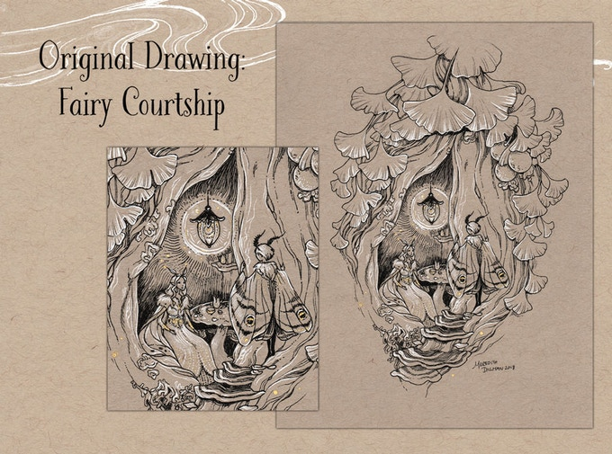 Original Drawing - Fairy Courtship