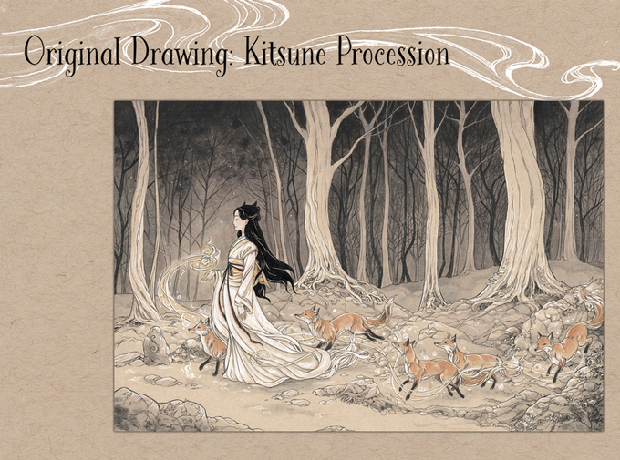 Original Drawing - Kitsune Procession