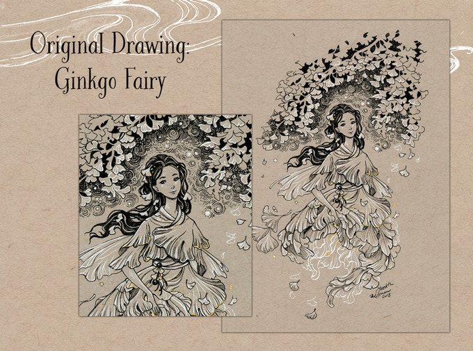 Original Drawing - Ginkgo Fairy