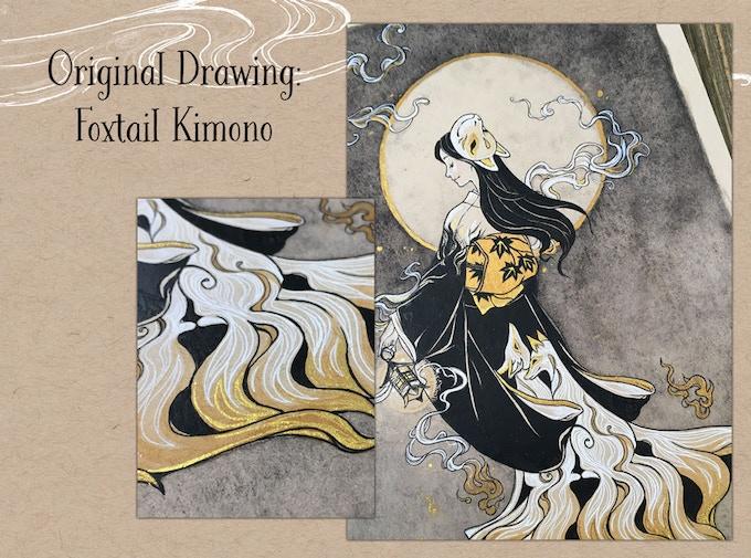 Original Drawing - Foxtail Kimono