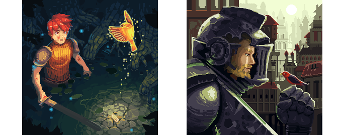 Artbook full of pixel art and early sketches