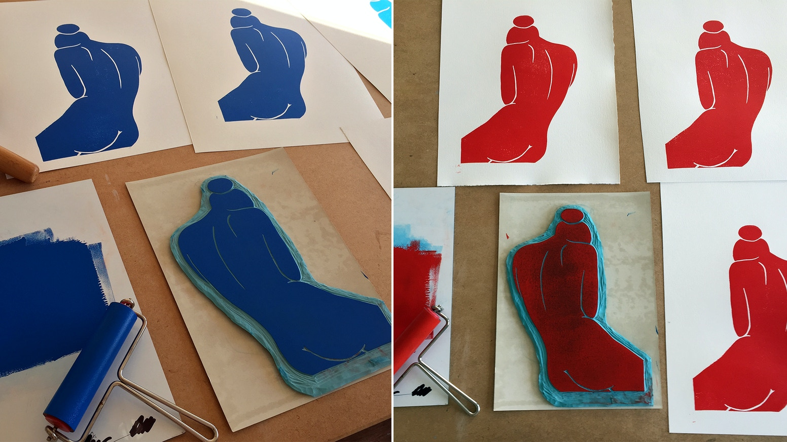 """Handprinted Linoleum Artworks """"Akt"""" // Nude Art in BLUE & RED, Printed on Butten Paper + Passepartout / 30x40cm / signed&numbered"""