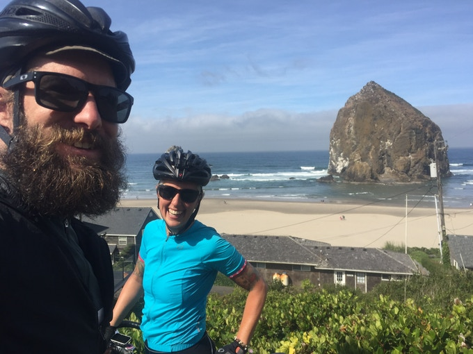 This fella right here is Bradford - the world's most supportive partner and your soon to be workshop teacher and ride leader!  This was a bike packing trip we took down the Oregon Coast - we can give you the tools you need to be able to plan an adventure like this yourself!  You'll never go back to regular vacations ever again... (yes, that is the Goonies rock!)