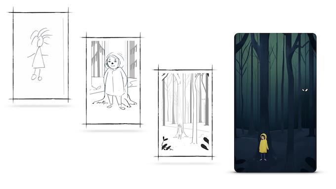 Playtest Stick Figure --> Sketch --> B&W Illustration --> Color Illustration