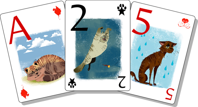 Mockups of Kitten Cards -- Ace of toy mice, 2 of toe beans, 5 of noses