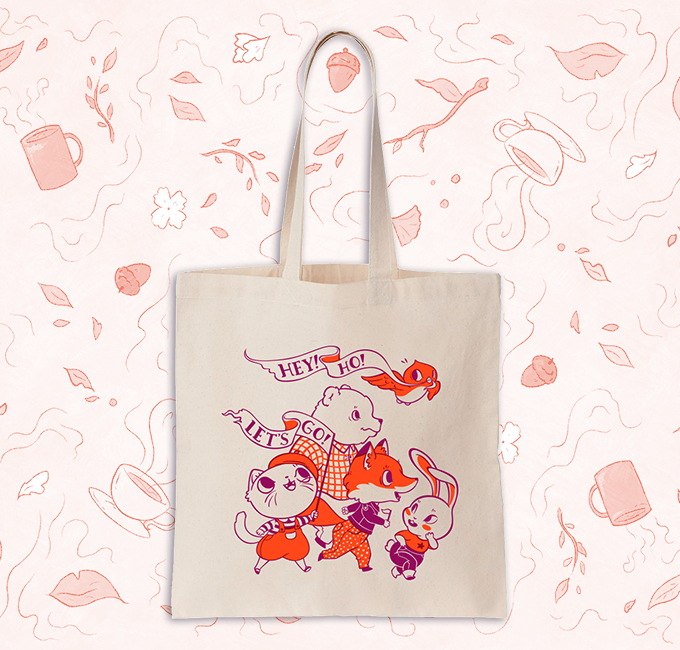 Tote bag feat. illustration by Clare Kolat