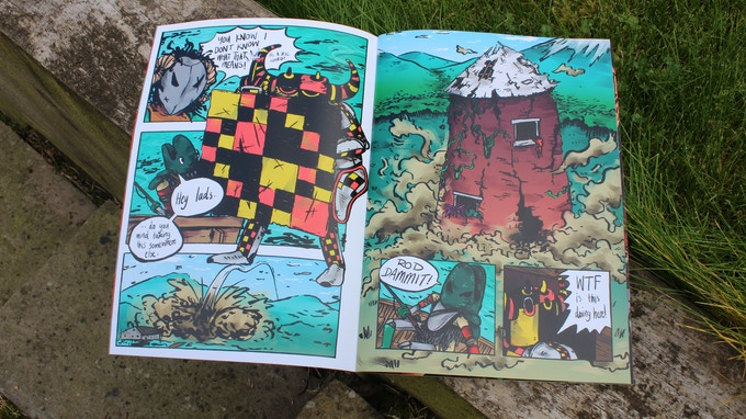 The comic featured Kettle Knight, Botany Knight, and Chequered Knight trying to deal with a dragon that stole a house!