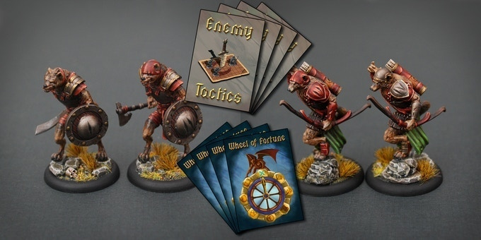 Gnoll numbers on the shields and pauldrons as well as Fortune and Tactic cards