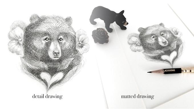 Heart Bear Original Drawing