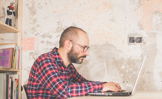 Bad posture without a laptop stand