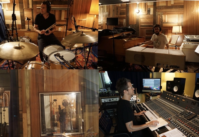 Top L to R: John Bollinger on Drums, Gabe Shuford on piano and Wurlitzer, Bottom L to R: Adam Enright singing backup vocals, Don Godwin: recording, mixing and rocking