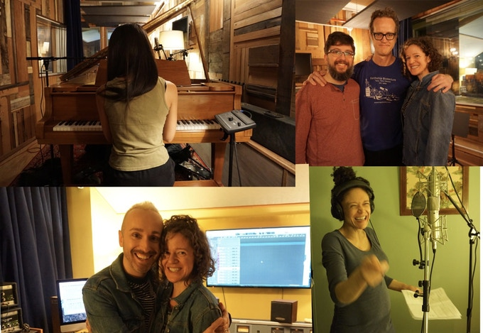 Top L to R: Aya Kato on piano, Gabe, Lars Jacobsen (sax and clarinet) & Erin, Bottom L to R: Adam & Erin,  Amber Gray on Backup Vocals