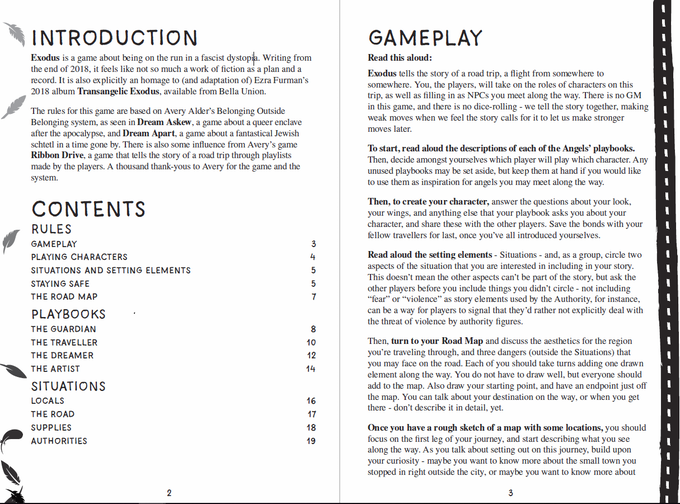 Intro, Contents, and Gameplay - layout example