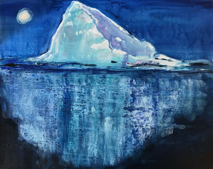 Artist: Sandra Hawkins. Title: Iceberg in Moonlight, acrylic, 10 x 12 inches, 2018.
