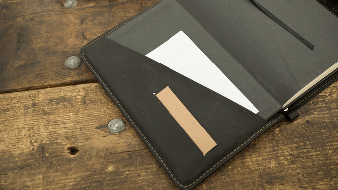 The pockets on the inside cover are great for stashing business cards, post-its, and notes.