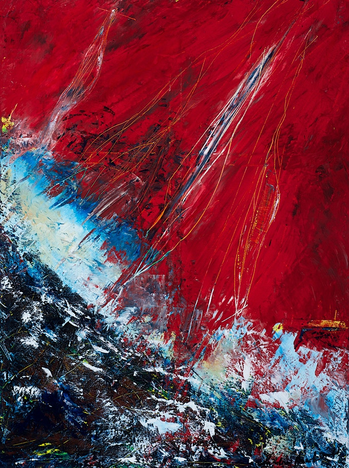 Artist: Sandra Hawkins. Title: Tempest, acrylic on canvas, 48 by 36 inches