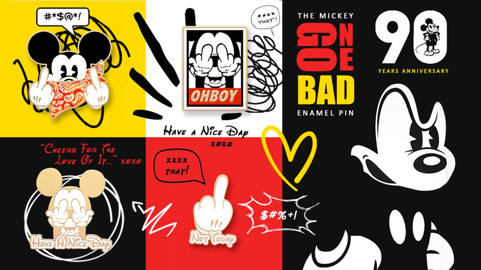 Make 100: Mickey Gone Bad enamel pins