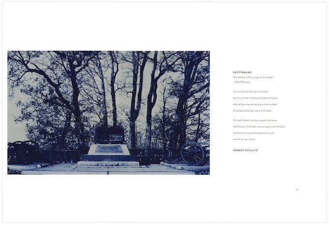 """""""The Copse of Trees, Gettysburg,"""" cyanotype (c) Binh Danh & """"Gettysburg,"""" poem (c) Robert Schultz"""