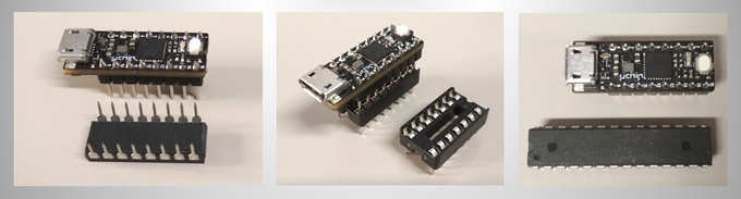 uChip has the same pin spacing of a 16-pin DIP package and can be mounted in a 16-pin DIP socket! uChip is much smaller than ATMEGA328P! (see comparison on the right)