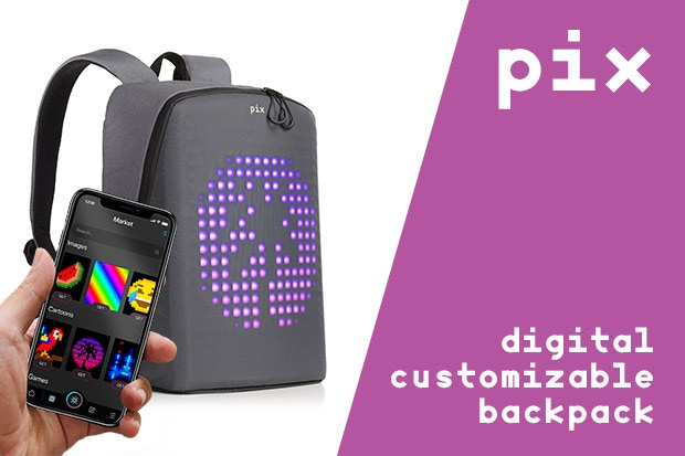 Besides being a convenient urban backpack, Pix allows you to choose or create your own digital art and display it.