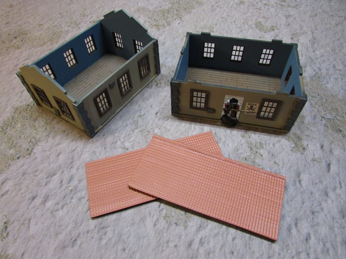 Kit shown with tile roof that is not included, you will receive a plain roof as showing Building Kit 3