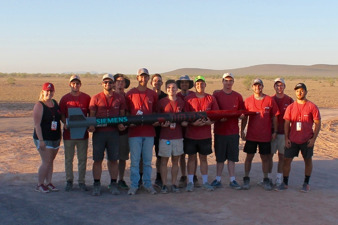 The 2017-2018 ARES Project Altair team prepares to launch at the Spaceport America Cup in 2018.