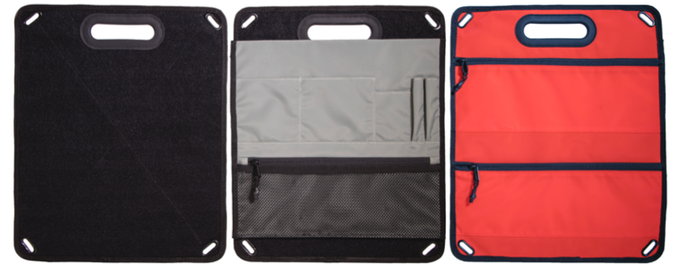 Gray commuter pockets are removable from full-velcro side of organizer board